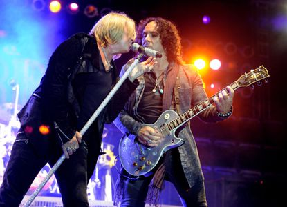 "Singer Joe Elliott (L) and Vivian Campbell of Def Leppard perform at the after party for the premiere of Warner Bros. Pictures' ""Rock Of Ages"" on June 8, 2012 in Los Angeles."