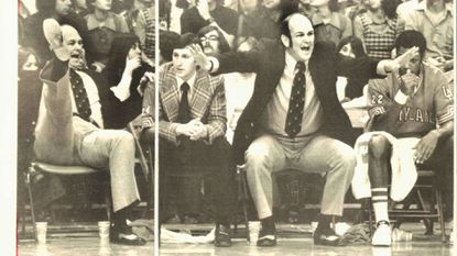 """In two photo stills, University of Maryland men's basketball coach Charles """"Lefty"""" Driesell shouts encouragement, with a little animation, to his team as they clash with the Duke Blue Devils at College Park on Feb. 2, 1974."""