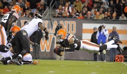 Cleveland cornerback Joe Haden intercepts a second-quarter pass during a Browns win last November.