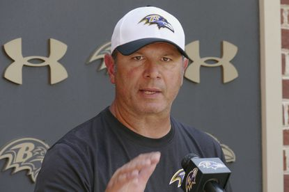 Ravens linebacker coach Ted Monachino speaks during a press conference following a practice at Ravens Training Camp.
