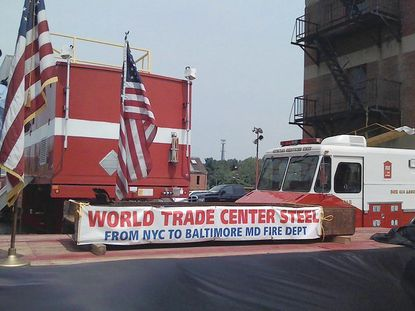 A section of I-beam salvaged from the remains of the World Trade Center after the attacks on September 11, 2001 will be placed in the auditorium where Baltimore fire trainees gather daily. The two-ton segment will become part of a permanent memorial as part of a $9.5 million renovation of the training center campus.