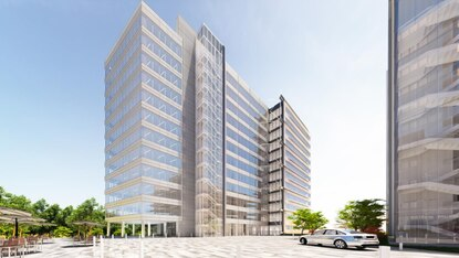A rendering of the proposed headquarters for the cybersecurity company Tenable in downtown Columbia.