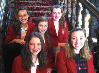 Finksburg resident Brooke Nixon, center, a freshman at Maryvale Preparatory School, has organized a Cure Crew to raise funds for the Leukemia and Lymphoma Society. Her team includes, top row, Erin Coyne and Isabella Mawry, both of Westminster, and bottom row, Olivia du Bois, of Baltimore County, and Mary Grace Martz, of Anne Arundel County.