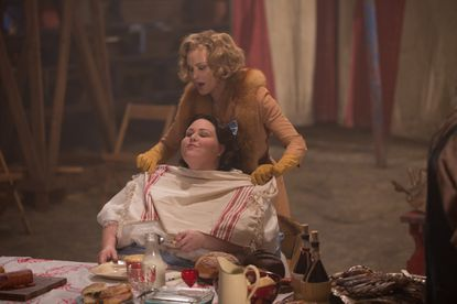 "Jessica Lange as Elsa Mars (top) and Chrissy Metz as Ima on ""American Horror Story: Freak Show."""