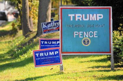 A hand painted Trump-Pence sign sits along Trimble Road in Joppa at the Edmunds residence. With a few exceptions, most Harford County Republican elected officials say they support their party's nominee, some more reluctantly than others.