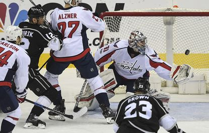 Capitals goalie Philipp Grubauer makes a save during the second period, one of 38 he had during the shutout.
