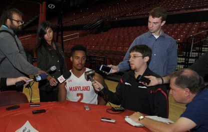 Freshman point guard Melo Trimble drew a crowd at Maryland's preseason media day.