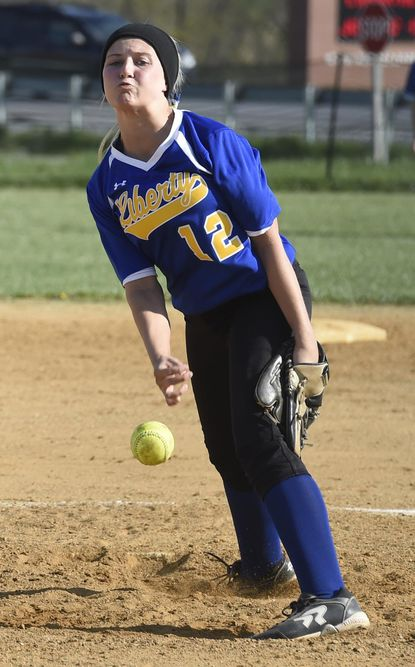 Liberty's Lexi Trail pitches against South Carroll.