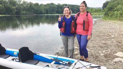 Carolyn Choate, 59, and her daughter Sydney Turnbull, 27, are kayaking 300 miles down the Delaware River to raise awareness for breast cancer research.