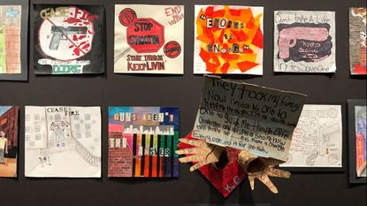 Local students denounce violence with artwork displayed Sunday at the Motor House arts space in Charles North.