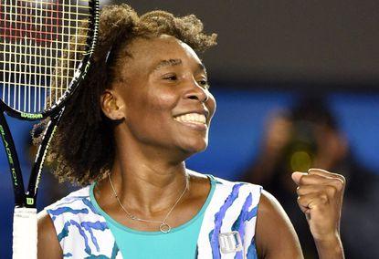 Venus Williams celebrates her win against Agnieszka Radwanska during the Australian Open.