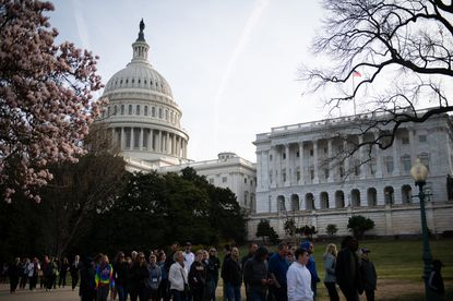 A general view of the U.S. Capitol Building in Washington, D.C., as seen near blossoming trees with tourists walking by on March 11, 2020. No doubt some are asking themselves in the midst of the coronavirus outbreak: Is this the America were were promised?