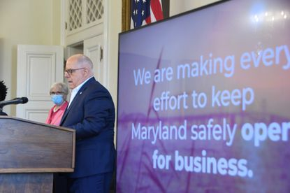 Maryland Gov. Larry Hogan speaks during a news conference at the State House in Annapolis on July 29, 2020.