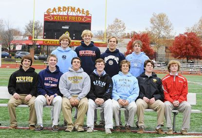 From lower left, Reese Bartell, Pat Carotenuto, Brian Bolewicki, Kelton Black, Ryan Brown, Stephen Gutierrez and Carter Brown. From top left, Evan Connell, Brett Pearce, Jack Brust and Patrick Kelly. Eleven Calvert Hall lacrosse players sign with Division 1 lacrosse programs.
