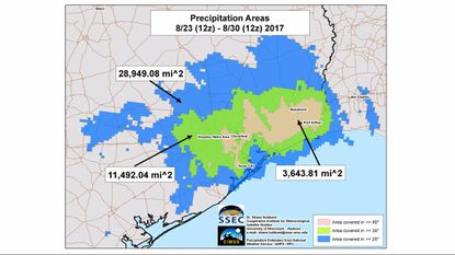 University of Wisconsin researcher Shane Hubbard used National Weather Service satellite data to calculate the footprint of Hurricane Harvey's historic deluge.