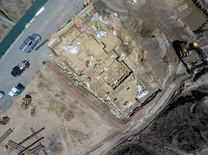 An aerial view of the Paleoindian site discovered in Avon.