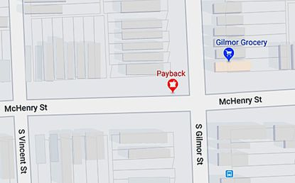 """A Google Maps icon marking """"Payback Pharmacy"""" in southwest Baltimore appears to designate a busy open-air drug corner in the Mount Clare neighborhood."""