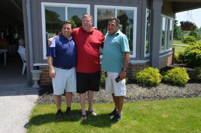 The first-place team at the Lions golf tournament is pictured, from left: Frank Carto, Jim Covey and Reniery Lanza. Team member Ben Yingling is not pictured. The team was sponsored by Burrier-Queen Funeral Home and Crematory.