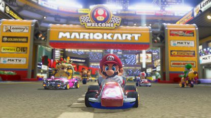 """A screengrab from """"Mario Kart 8."""" Locals have the opportunity to play tournaments of an older version, """"Mario Kart 64,"""" at MaGerk's in Bel Air and Peabody Heights Brewery in Baltimore."""