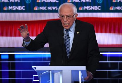 Democratic presidential hopeful Vermont Senator Bernie Sanders speaks during the ninth Democratic primary debate of the 2020 presidential campaign season co-hosted by NBC News, MSNBC, Noticias Telemundo and The Nevada Independent at the Paris Theater in Las Vegas, Nevada, on Feb. 19, 2020.