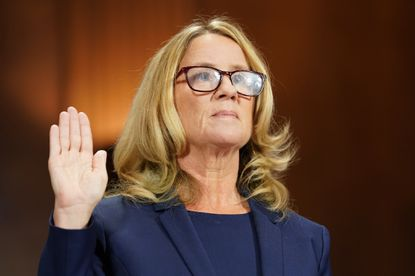 Christine Blasey Ford is sworn in prior to giving testimony before the U.S. Senate Judiciary Committee at the Dirksen Senate Office Building on Capitol Hill last month.