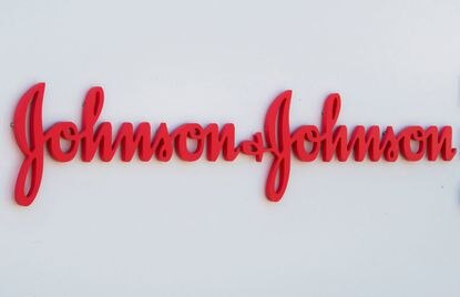 An entry sign to the Johnson & Johnson campus shows their logo in Irvine, California on August 28, 2019. (Mark Ralston/AFP via Getty Images/TNS)