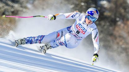 Lindsey Vonn competes in the women's Super G event of the FIS Alpine skiing World Cup in Cortina d'Ampezzo on Jan. 20, 2019.