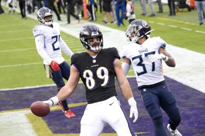 Baltimore Ravens tight end Mark Andrews (89) reacts after scoring on a touchdown pass from quarterback Lamar Jackson, not visible, during the second half of an NFL football game against the Tennessee Titans, Sunday, Nov. 22, 2020, in Baltimore. Both players have since tested positive for COVID-19 and did not play against the Pittsburgh Steelers on Wednesday, Dec. 2.
