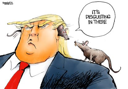 "Bill Bramhall's editorial cartoon for July 30, 2019, following Trump's comments towards Rep. Elijah Cummings (D-MD) and his ""disgusting, rat and rodent infested"" district over the weekend. The Baltimore Sun fired back with a scathing article titled: ""Better to have a few rats than to be one."""