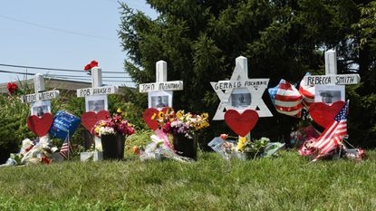Retired carpenter Greg Zanis constructed the crosses and Star of David as a memorial for the five Annapolis Capital Gazette staffers who were killed in a shooting in their office.
