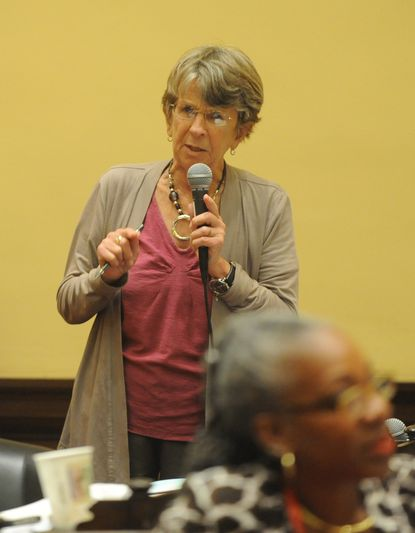 Baltimore City Councilwoman Mary Pat Clarke speaks at a council meeting.