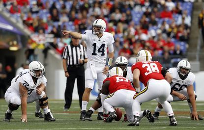 Penn State quarterback Christian Hackenberg (14) points across the line of scrimmage before a play in the first half of an NCAA college football game against Maryland, Saturday, Oct. 24, 2015, in Baltimore.