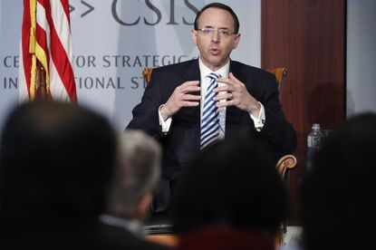 Deputy Attorney General Rod Rosenstein speaks at a Center for Strategic and International Studies (CSIS) event on the rule of law on Feb. 25 in Washington, D.C.