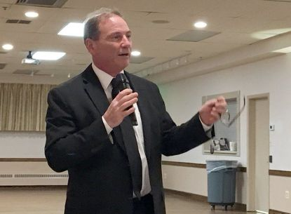Harford County Republican Del. Rick Impallaria speaks during a community meeting Tuesday evening at the Joppa-Magnolia fire hall on the Ansar community being built in Joppatowne.