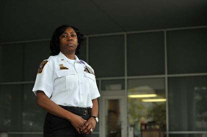 Corrections Officer Gail Watts is the only female captain at Baltimore County Detention Center in Towson.