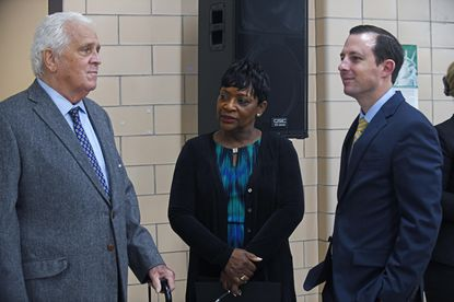 Maryland General Assembly Democratic leaders including Sen. Thomas V. Mike Miller, from left, House Speaker Adrienne A. Jones, and Senate President Bill Ferguson discuss Kirwan Commission report last November at a news conference at Forest Heights Elementary School in Prince George's County.