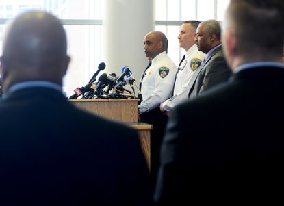 Commissioner Batts at a press briefing on April 24 at police headquarters