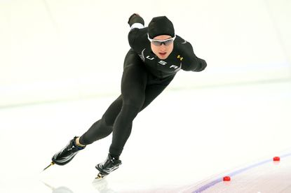 Jonathan Kuck during a training session ahead of the Sochi 2014 Winter Olympics at Adler Arena Skating Center. (Quinn Rooney/Getty Photo)