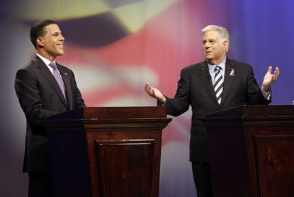 Maryland Democratic gubernatorial candidate Lt. Gov. Anthony Brown, left, and Larry Hogan, Republican candidate for governor, take part in their final televised debate before the election. The debate was held at MPT studios.