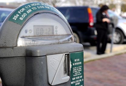 A parking meter displays the remaining minutes in downtown Westminster.