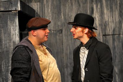 "Bobby Henneberg, left, as Mr. Croup and Matthew Payne as Mr. Vandemar in Cohesion Theatre Company's production of ""Neverwhere."""