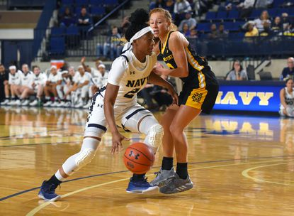 Navy's Jennifer Coleman, seen taking a shot against Kennesaw State, has been ruled academically ineligible.