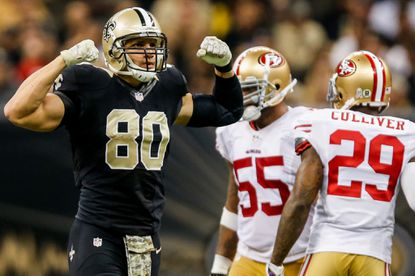 Jimmy Graham has 56 catches for 594 yards and seven touchdowns this season.