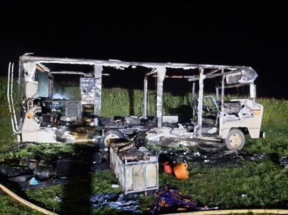 A fire gutted this Winnebago Chieftan in Westminster on Saturday, Aug. 22.
