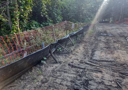 Photo of a construction site at Parkside Preserve, also known as the Reserve at Quiet Waters, that shows sediment pollution in nearby protected wetlands. Annapolis is consider punishment, including fines ranging into the thousands of dollars and a stop work order, for the Anne Arundel-based company Reliable Contracting Company.
