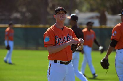 Baltimore Orioles pitcher Brian Matusz during spring training practice at the Ed Smith Stadium complex.