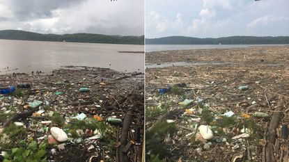 Images captured by Conowingo Dam owner Exelon Corp. show debris buildup along the western side of the dam both before (on left, taken July 26) and after major flooding (on right, taken Aug. 7) on the Susquehanna River.