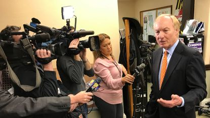 Maryland Comptroller Peter Franchot tells reporters on Tuesday at the State House in Annapolis that state lawmakers are targeting him with bills that would strip his office of enforcement power and limit the campaign contributions he receives.