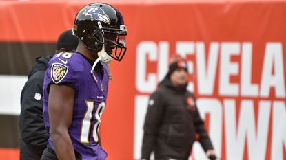 Baltimore Ravens wide receiver Jeremy Maclin leaves the field with an injury during the first half of an NFL football game against the Cleveland Browns, Sunday, Dec. 17, 2017, in Cleveland.
