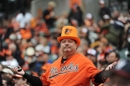 David Needle of Anaheim, Calif., shown during the Orioles' home opener last season, is one of many waiting for the club's first World Series title since 1983.